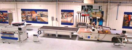 "RT Machine Company Showroom: SCM Model PRATIX N15 CELL, 5' x 12', CNC Router, Omal Model HBD 1550, 61"" Bore and Dowel Machine, SCM Model K 130E Edge Bander"